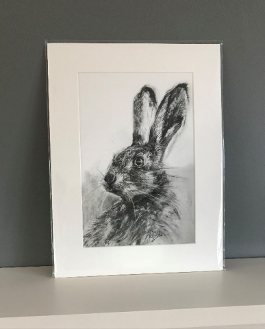 charcoal drawing print hare