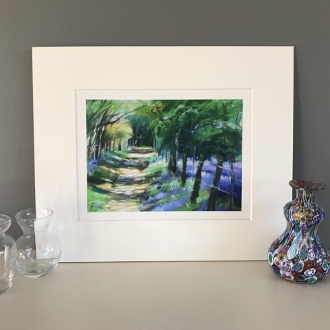 bluebells woods trees paths painting print art