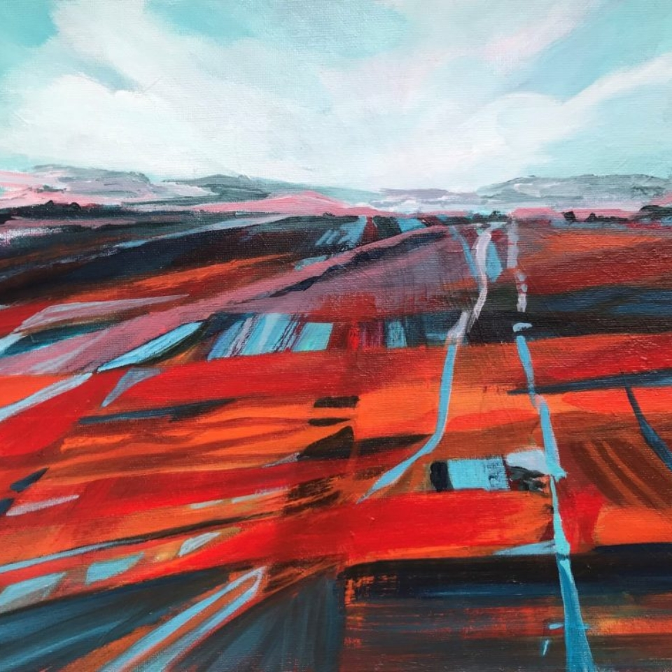 stripes field red turquoise oxfordshire goring contemporary