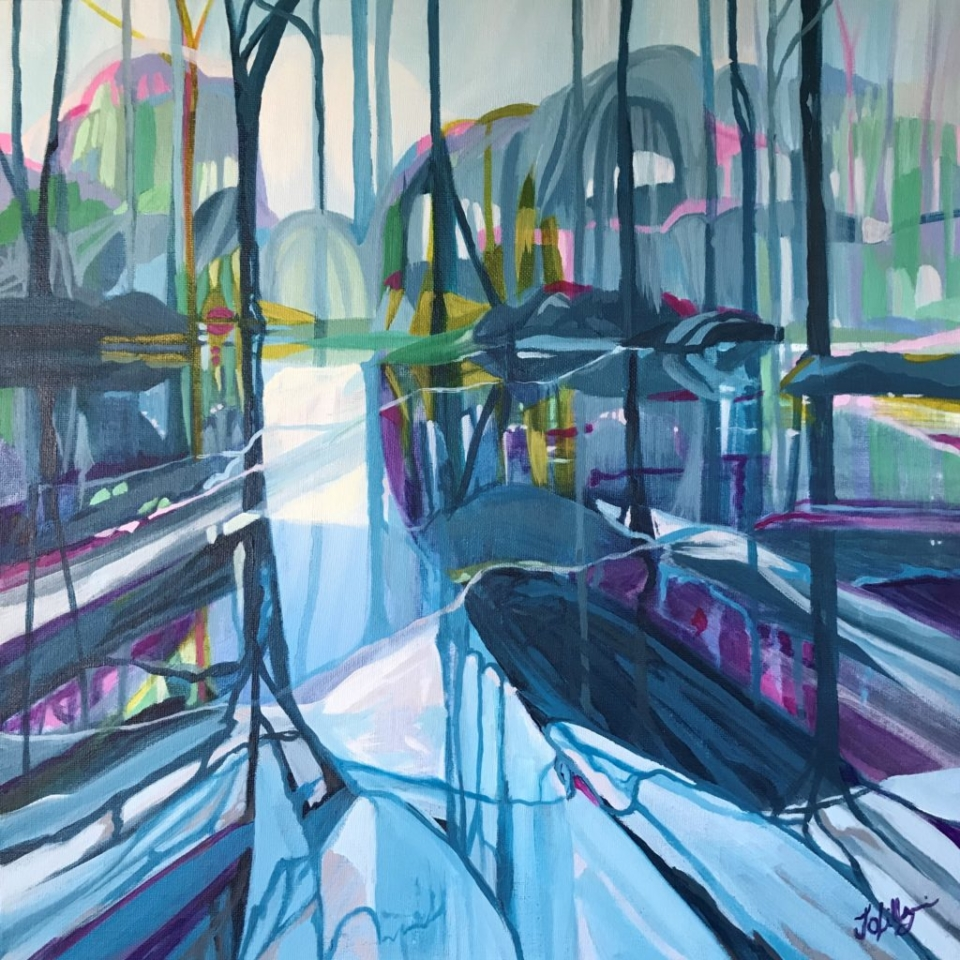 ponds spring reflect contemporary art painting water