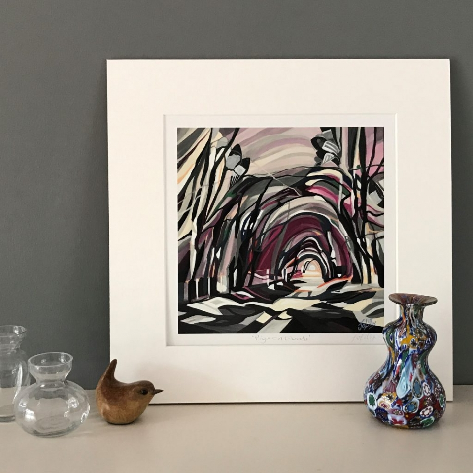 woodland contemporary pigeon trees painting sutainable bamboo print art landscape
