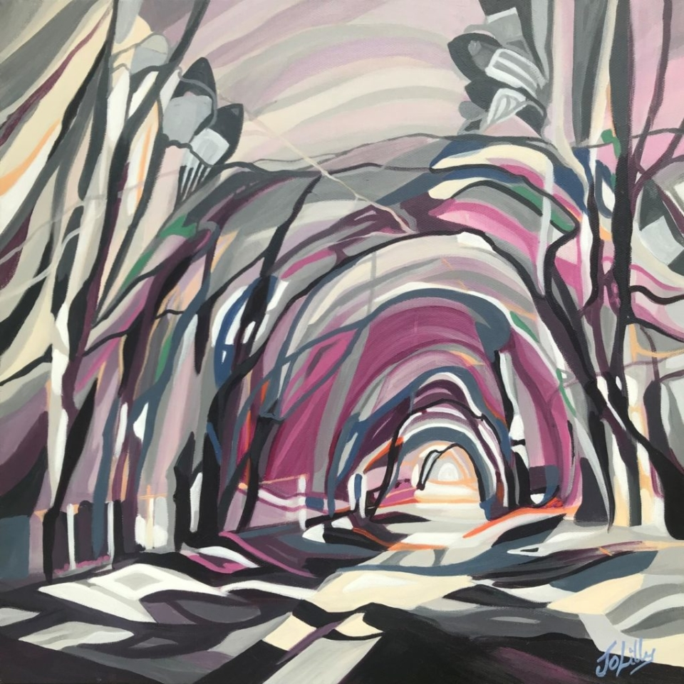 purple heather grey woods woodland trees nature landscape art painting tunnel modern abstract contemporary