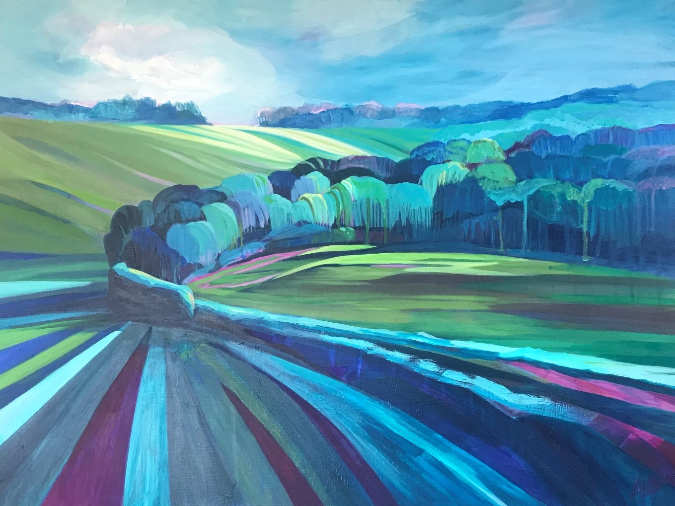 treese contemporary art painting ipsden fields stripes