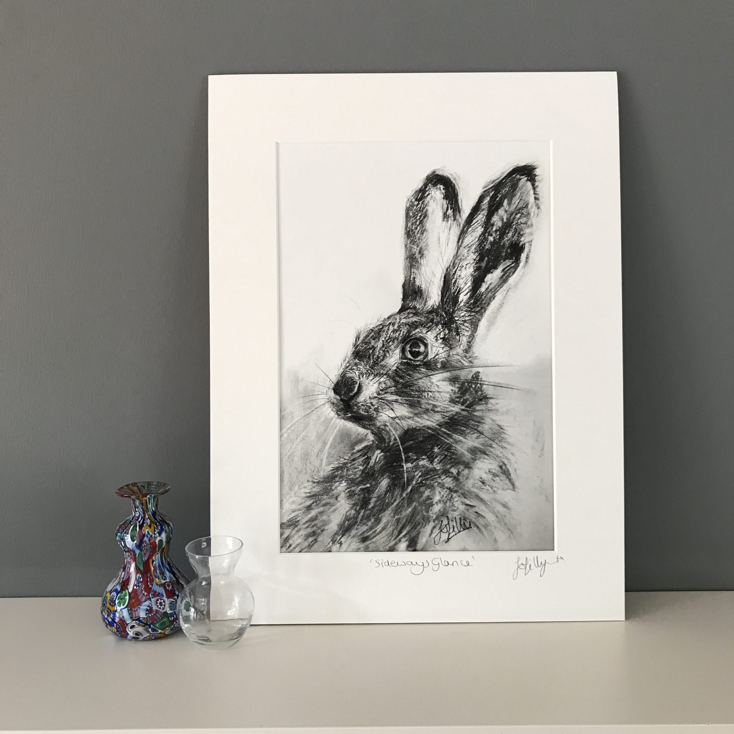 hare charcoal drawing print