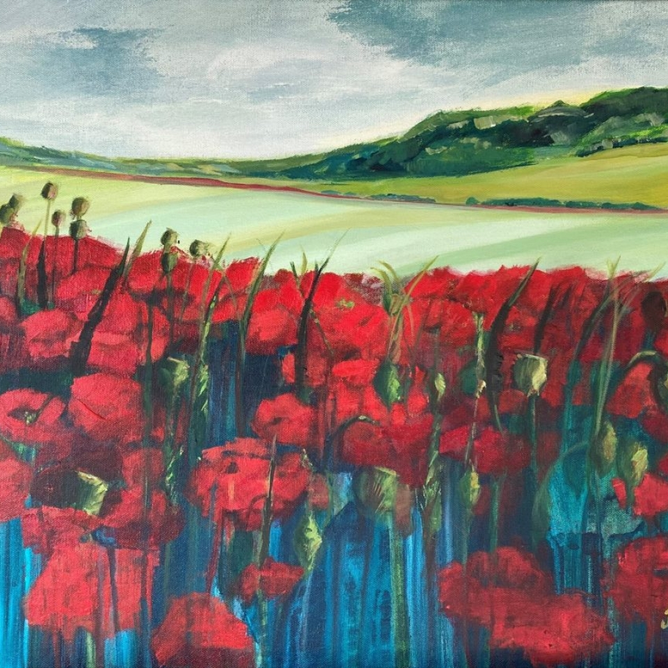 painting wall decor art poppy poppies red fields landscape oxfordshire countryside