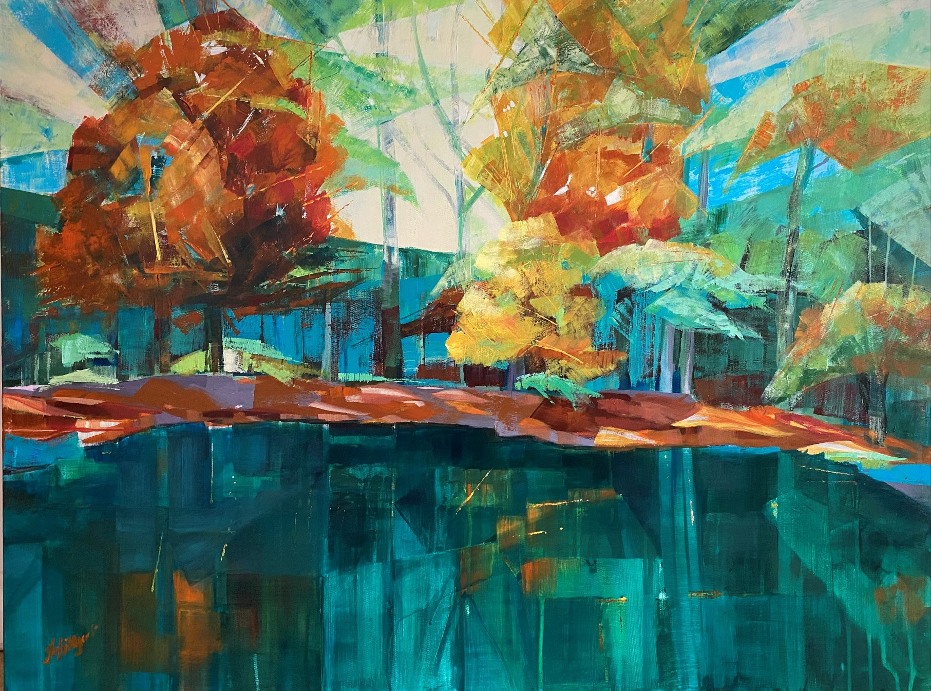 pond water reflection painting contemporary art landscape fineart autumn