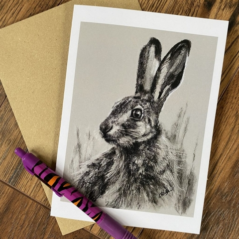 hare charcoal card greetings card hare birthday card