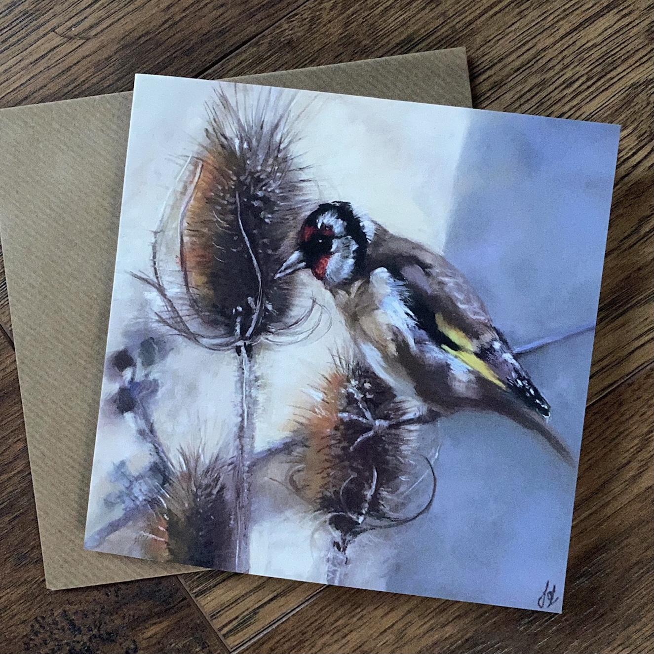 Goldfinch on Teasels card