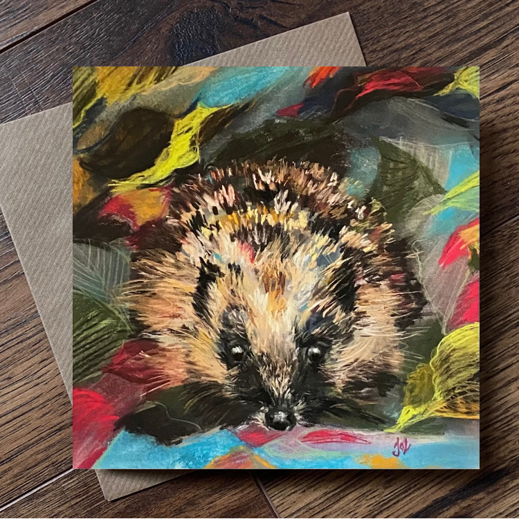 hedgehog wildlife nature art notelet card sustainable FS certified