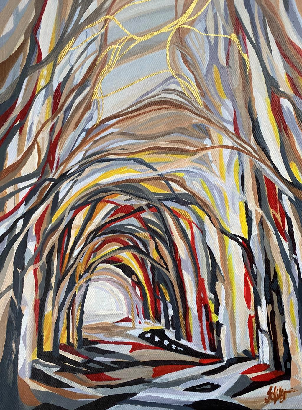 goldfinch tunnel trees avenue of trees contemporary woodland painting