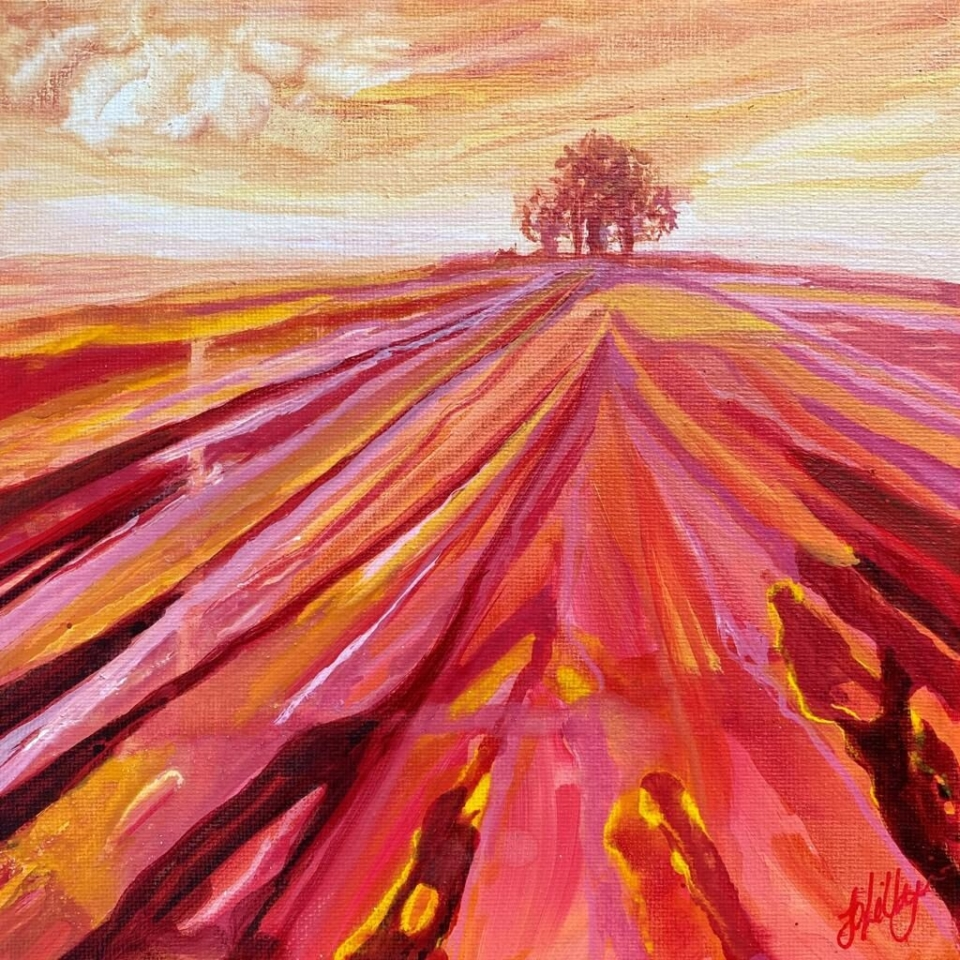 brightwell barrow sunset landscape art south oxfordhshire