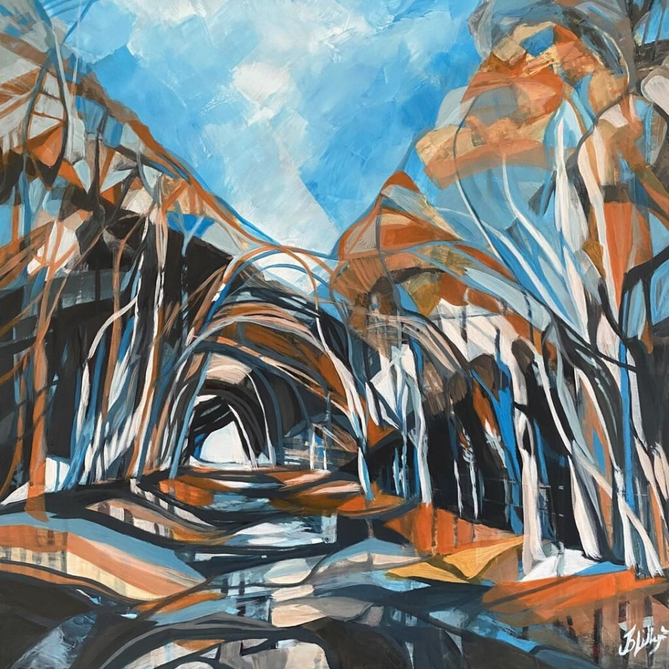 tunnel of trees art deco orange blue black contemporary woodland